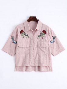 Floral Patched Button Up Pockets Shirt - Pink