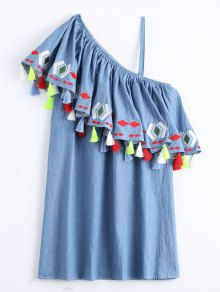 One Shoulder Flounce Tassels Shift Dress - Denim Blue Xl