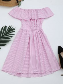 Open Back Striped Off The Shoulder Dress - Pink S