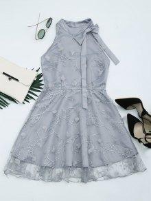 Mesh Panel Bowknot Embellished Flare Dress - Gray M