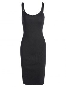 Side Slit Knitted Cami Sheath Dress - Black