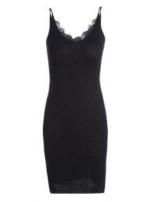 Lace Panel Side Slit Knitted Dress - Black