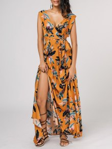 Self Tie High Slit Floral Maxi Surplice Dress - Yellow M