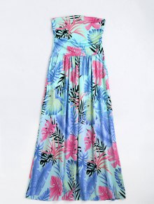 Leaves Print Strapless Maxi Dress - Multi Xl