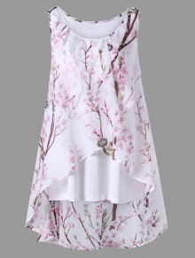 Plus Size Tiny Floral Overlap Sleeveless Top - Pink Xl