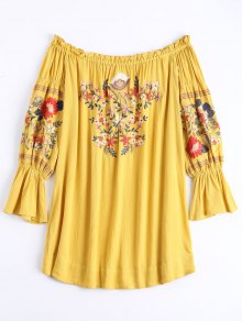 Ruffle Hem Floral Embroidery Shift Dress - Ginger S