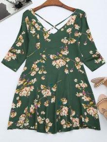 V Neck Floral Print Flared Dress - Green M