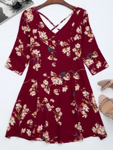V Neck Floral Print Flared Dress - Burgundy S
