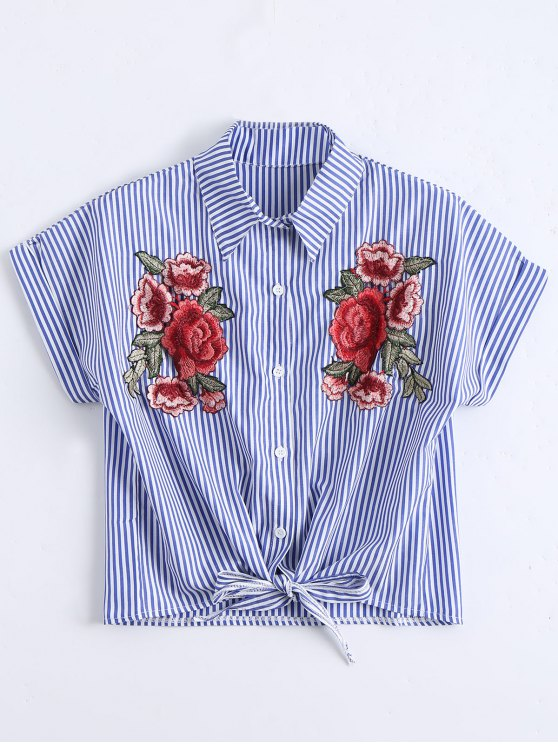best Floral Patched Striped Button Up Shirt - STRIPE L