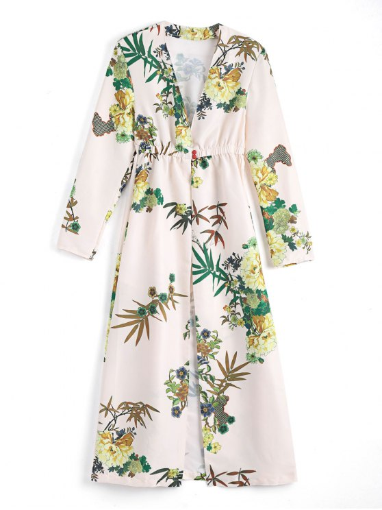 fancy Floral Long Sleeves Open Front Coverup Dress - APRICOT S