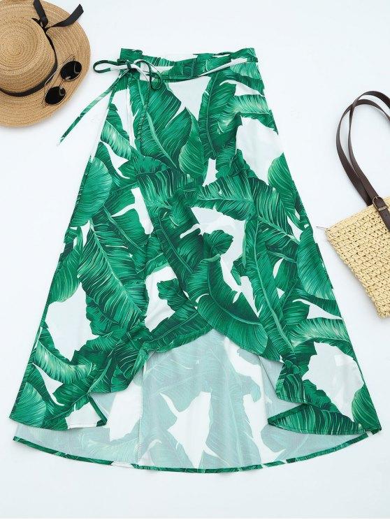 outfit Leaves Print High Waist Wrap Skirt - DEEP GREEN S