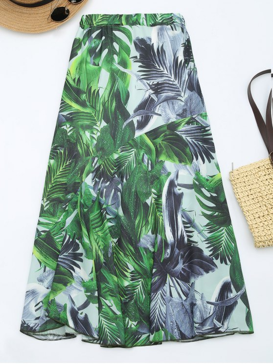 Leaves Print High Waist Maxi Skirt GREEN: Skirts M | ZAFUL