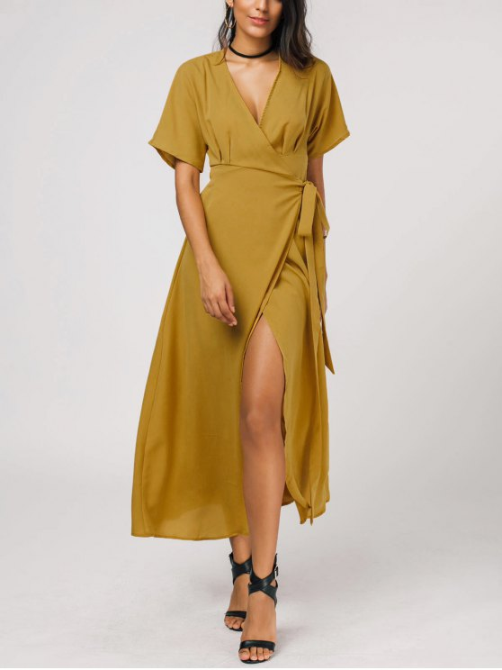 lady Plunging Neck Self Tie Wrap Dress - GINGER XL