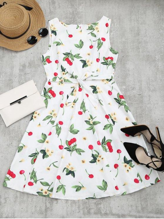 فستان طباعة كرز الأزهار بلا أكمام توهج - أبيض M