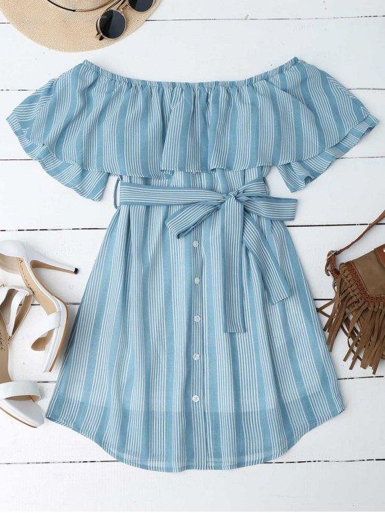 Multi Stripe Off The Shoulder Dress - Bleu M