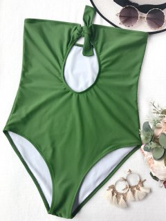 Cutout Knotted Bandeau One Piece Swimsuit - Green S