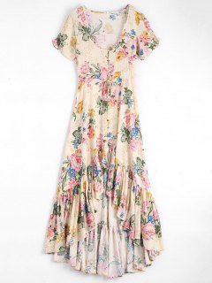 High Low Scoop Neck Floral Ruffled Maxi Dress - Floral L