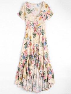 Robe Maxi Florale Haut-Bas à Col Bas à Volants - Floral S