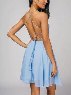 Open Back Criss Cross Cami Dress - Light Blue M