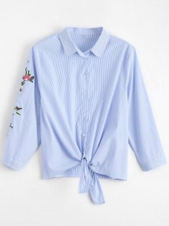 Floral Embroidered Bowknot Stripes Shirt - Stripe M