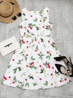 Cherry Floral Print Sleeveless Flare Dress - White M