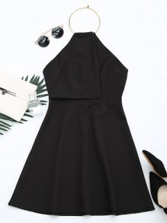 Open Back Ring Halter Flare Dress - Black L