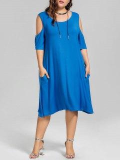 Casual Plus Size Cold Shoulder Dress - Blue 3xl
