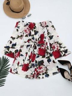 Floral Print Flare Sleeve Belted Romper - Floral S