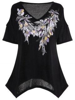 Cold Shoulder Feather Print Plus Size Top - Black 5xl