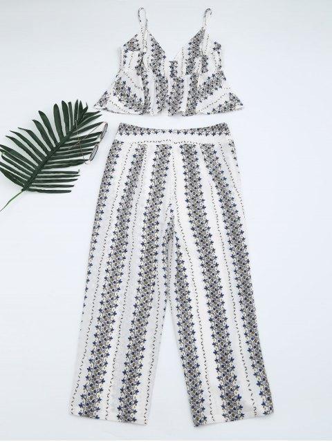 buy Printed Cami Top and High Slit Pants - WHITE S Mobile