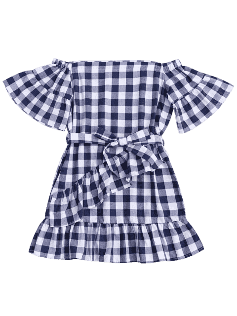 womens Checked Belted Off Shoulder Mini Dress - CHECKED S Mobile