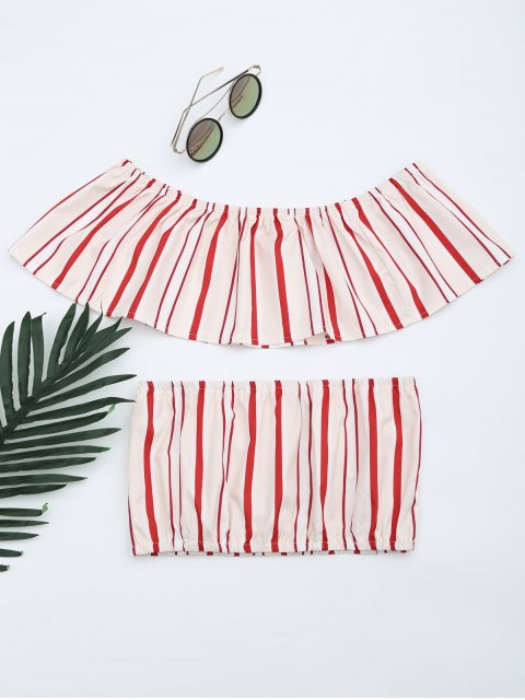 latest Separate Striped Top and Slit Skirt Suit - RED STRIPES M Mobile
