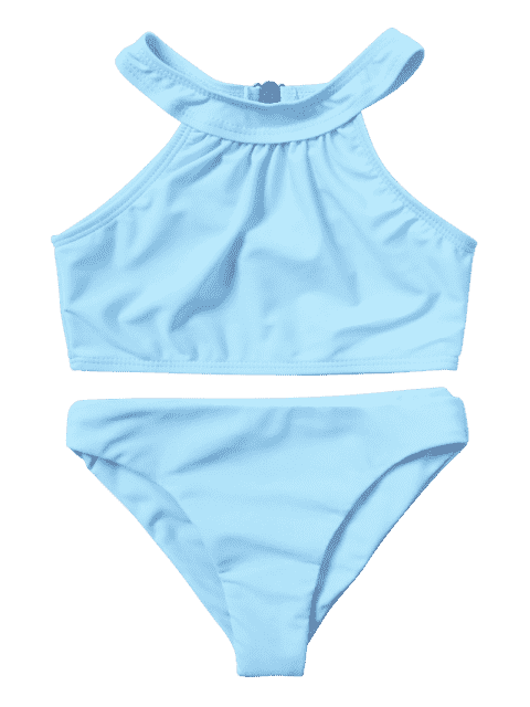 sale Kids Girls Choker High Neck Bikini Set - LIGHT BLUE 4T Mobile