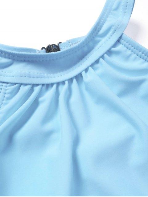 womens Kids Girls Choker High Neck Bikini Set - LIGHT BLUE 7T Mobile