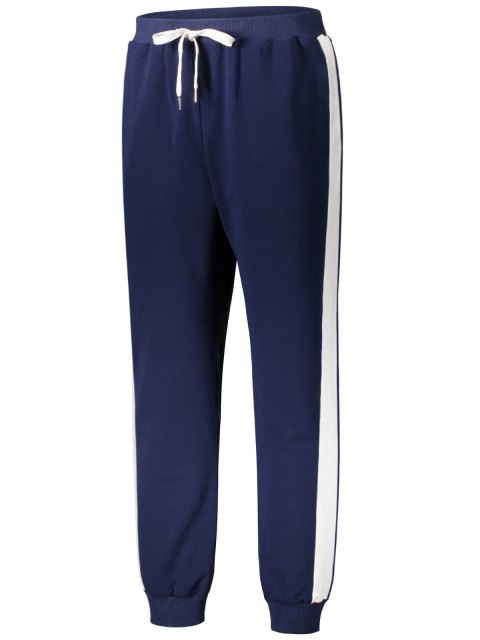 women Drawstring Waist Two Tone Jogger Pants - PURPLISH BLUE XL Mobile