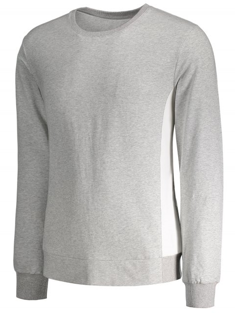 women's Side Panel Two Tone Cotton Sweatshirt - GRAY M Mobile