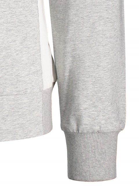 ladies Side Panel Two Tone Cotton Sweatshirt - GRAY L Mobile