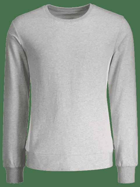 lady Side Panel Two Tone Cotton Sweatshirt - GRAY XL Mobile