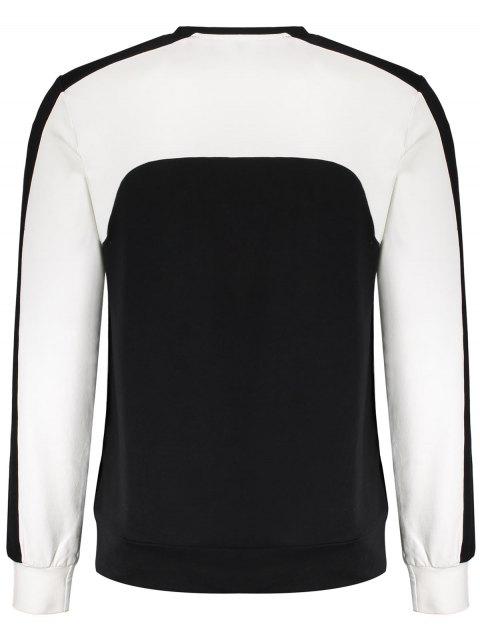 best Two Tone Panel Cotton Sweatshirt - BLACK M Mobile