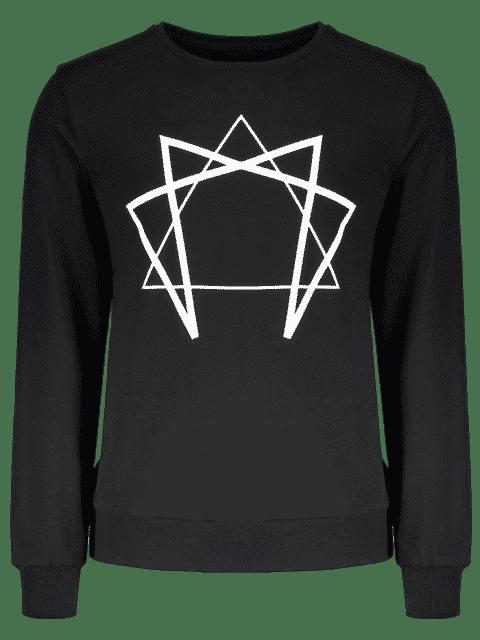 hot Crew Neck Geometric Printed Sweatshirt - BLACK M Mobile