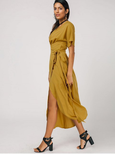 lady Plunging Neck Self Tie Wrap Dress - GINGER XL Mobile
