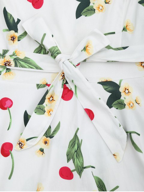 buy Cherry Floral Print Sleeveless Flare Dress - WHITE S Mobile