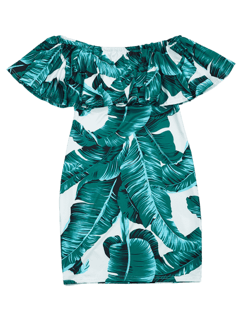 shops Leaves Print Flounce Fitted Dress - DEEP GREEN S Mobile