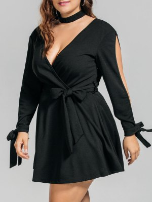 Plus Size Belted Split Sleeve Surplice Dress