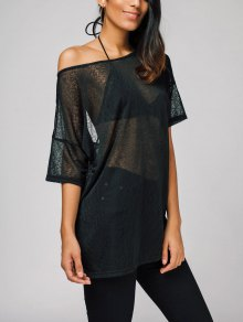 Oversized Semi Sheer Tee - Black 2xl