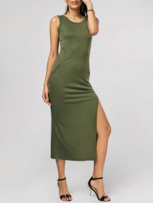Side Split Hip Pockets Long Tank Dress - Army Green S