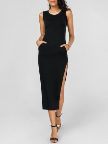 Side Split Hip Pockets Long Tank Dress - Black M