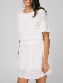 Robe A Line Drapée à Bretelles - Blanc 2xl