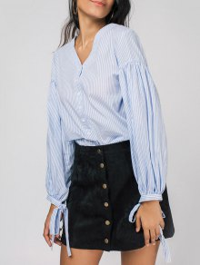 Striped V Neck Balloon Sleeve Shirt - Blue 2xl