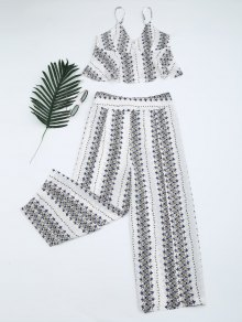 Printed Cami Top And High Slit Pants - White M